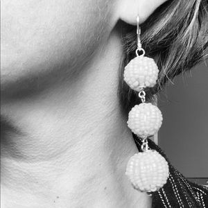 INC Bead Ball Drop Hook Earrings white or yellow